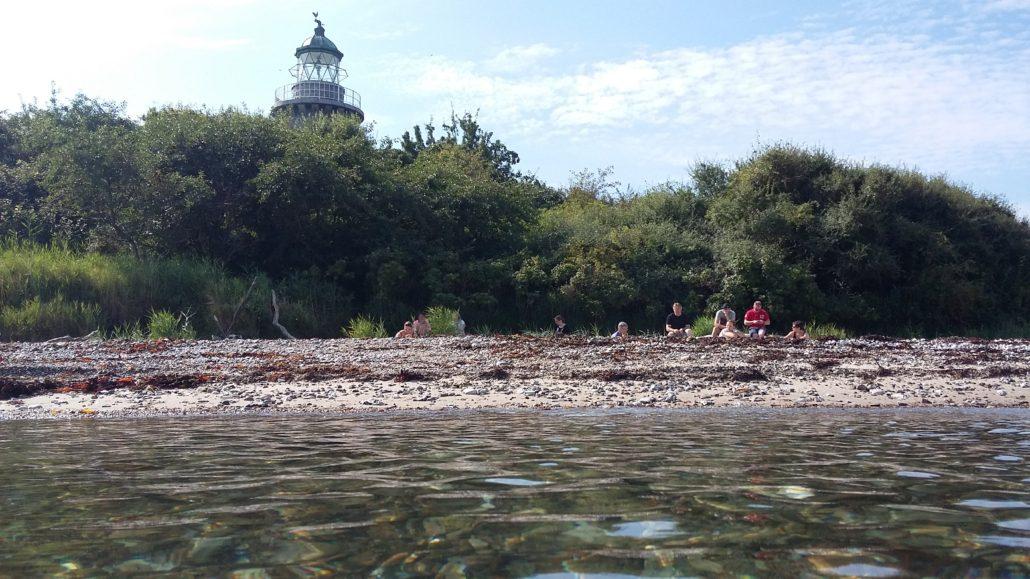 Æbelø - ophold på stranden på Nordsiden af øen ved fyret