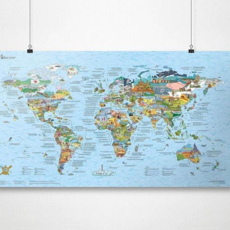Bucketlist Map Re-Writable Plakat Awesome Maps