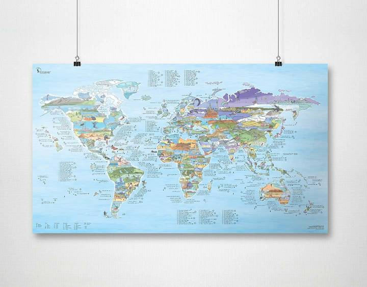 Kitesurf Map Plakat Awesome Maps